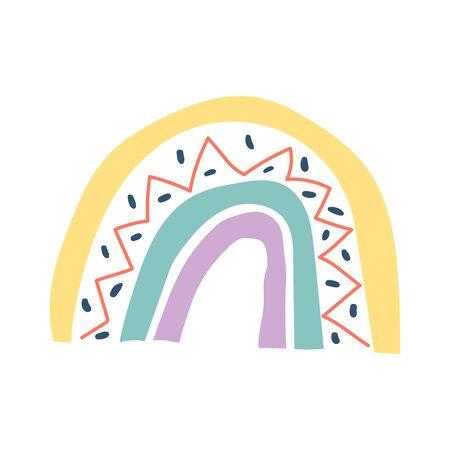 Creative hygge vector rainbow. Scandinavian style isolated on white background. Childish print for apparel, poster, nursery decoration illustration Illusztráció