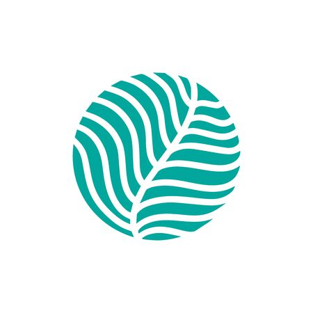 Round bio emblem in a circle linear style. Tropical plant green leaf logo. Vector abstract badge for design of natural products, flower shop, cosmetics, ecology concepts, health, spa, yoga Center