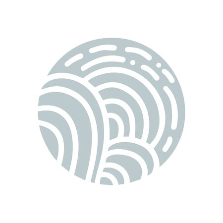 Gray Vector Organic logo. Round Nature Farmer products emblem. Abstract road and sun or trees in a circle Ilustracja