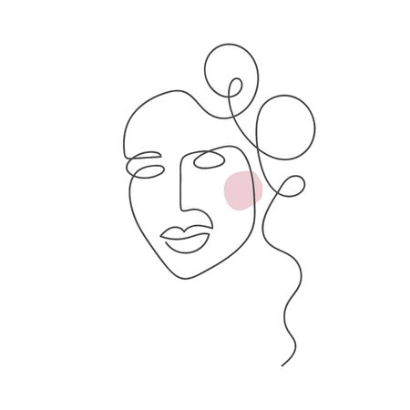 Vector woman face one line drawing. Monoline portrait minimalistic style. Simple design illustration logo or icon for greeting card, beauty center, spa, girls shop