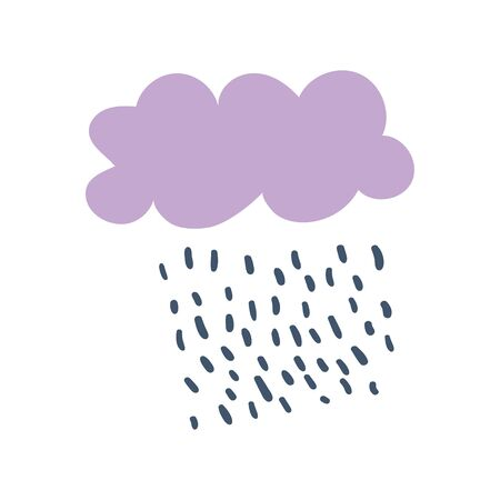 Cute vector poster or card with lilac cloud and rain drops. Modern style kids poster in Scandinavian style. Good for children, baby nursery design and print. Hand drawn doodle Illusztráció