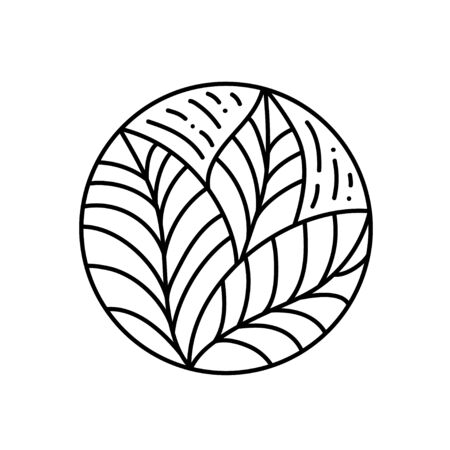 Round bio emblem in a circle linear style. Tropical plant green leaf logo. Vector abstract badge for design of natural products, cosmetics, ecology concepts, spa, yoga Center Ilustracja