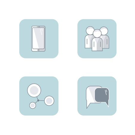 set of vector flat icon communication. illustrations for web business presentation, concept people speach, relationships Иллюстрация