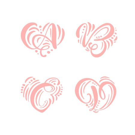 Heart love vector Hand Drawn calligraphic scandinavian floral A, B, C, D logo. Uppercase Hand Lettering Letters A, B, C, D with curl. Wedding Floral Design Ilustracja