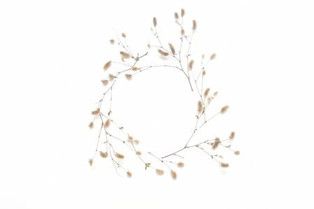Isolated autumn frame of plants with place for your text on white background. fall flat lay, top view creative objects. Elements for Thanksgiving day design