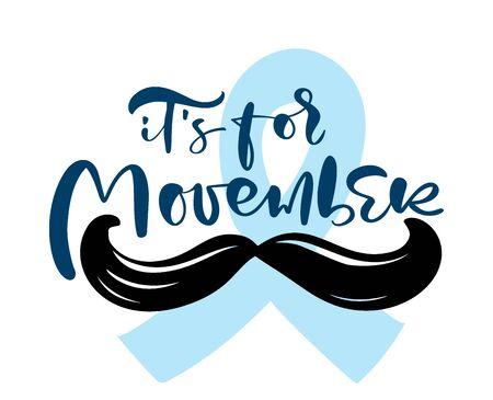 Movember - prostate cancer awareness month. Mens health concept. ribbon and moustache. Good for poster, banner, card design Çizim