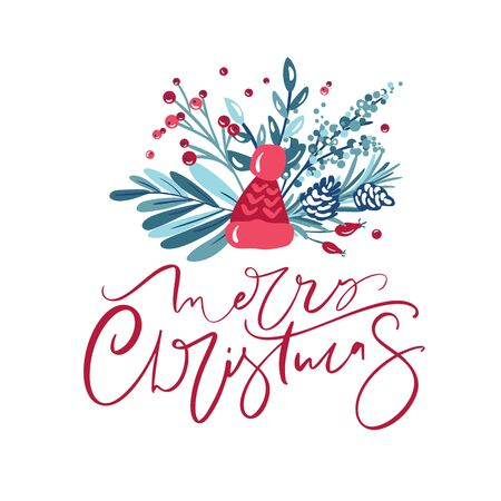 Merry Christmas calligraphic lettering hand written vector text. Greeting card design with floral plants xmas elements. Modern winter season postcard, brochure, wall art design