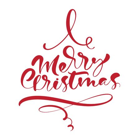 Merry Christmas vector calligraphic handwritten text. Xmas holidays lettering for greeting card, poster, modern winter season postcard, brochure Banque d'images - 133152949