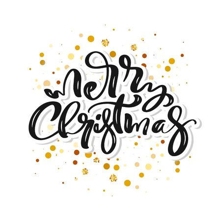 Merry Christmas vector calligraphic handwritten text and frame with golden confetti. Xmas holidays lettering for greeting card, modern winter season postcard Banque d'images - 133152952