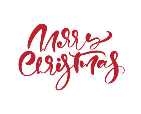 Merry Christmas vector calligraphic handwritten text. Xmas holidays lettering for greeting card, poster, modern winter season postcard, brochure Banque d'images - 133152957