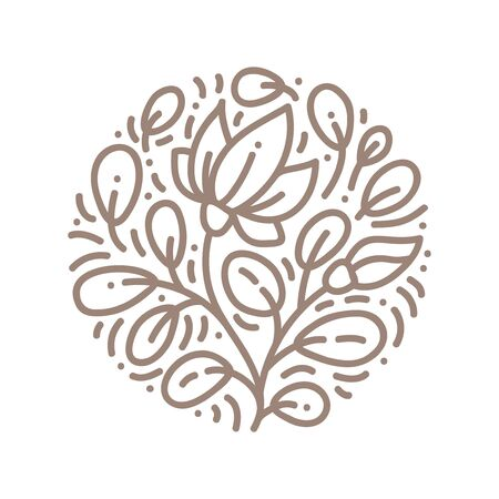 Vector logo flower design. Floral round Vintage element. Emblem luxury beauty spa, eco organic product, natural badge for cosmetics Archivio Fotografico - 133152958