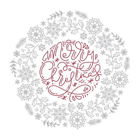Merry Christmas calligraphic lettering hand written vector text and snowflakes wreath. Greeting card design with xmas elements. Modern winter season postcard, brochure, banner Banque d'images - 133152961