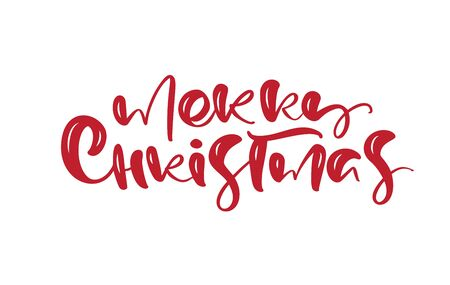 Merry Christmas vector calligraphic handwritten text. Xmas holidays lettering for greeting card, poster, modern winter season postcard, brochure Banque d'images - 133152964