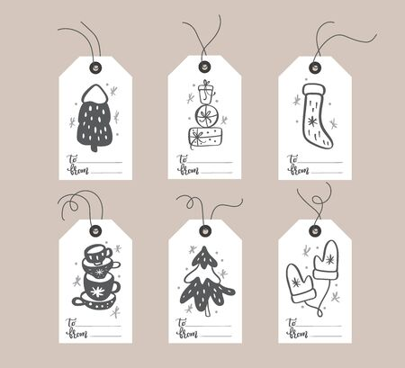 Set of hand drawn doodle scandinavian Christmas element tags with place for text. Collection holiday vector gift tags and bundle decorative hygge xmas elements Banque d'images - 133152981