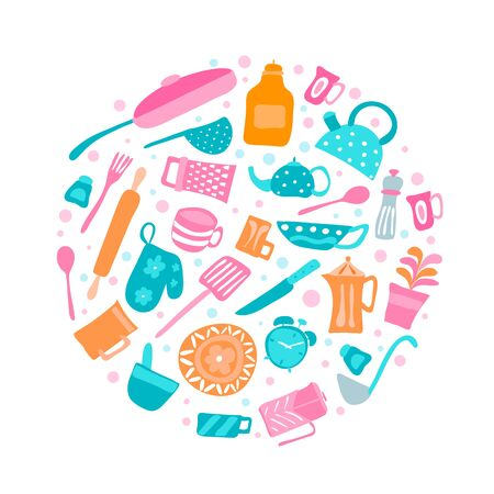 Set of vector silhouette kitchen utensils and collection of cookware icons in round, cooking tools and kitchenware equipment Stock Photo