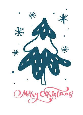 Red Merry Christmas vector scandinavian calligraphic vintage text with Christmas tree and snowflakes. Greeting card template with vintage style elements Doodle Illustration Imagens