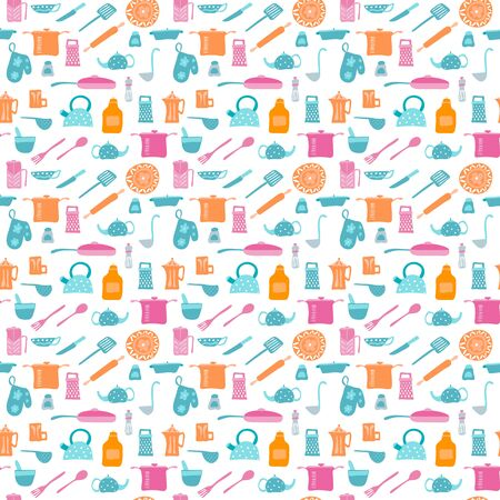 Vector Seamless pattern with kitchen items in retro style.