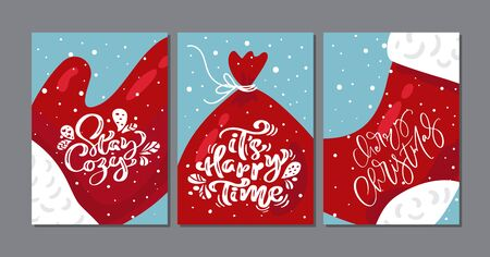 Three Christmas vector scandinavian Greeting cards. Calligraphic vintage text of Santa Claus. template with vintage style elements Doodle Illustration Ilustração