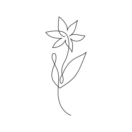 Continuous line hand drawing calligraphic vector flower. Concept logo beauty. Monoline spring floral design element in minimal style. Valentine love concept