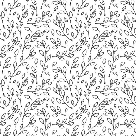 Cute Vector minimalist monoline scandinavian seamless pattern with cartoon tree branches. Doodle background for children holiday textile, wallpaper