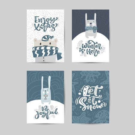 Set of vector Christmas Hand drawn greeting cards. Cute funny winter bear and rabbit. Calligraphy lettering texts. Xmas illustration of scandinavian isolated objects