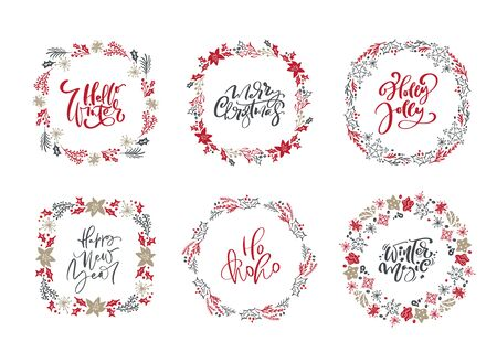 Set of Christmas vector scandinavian wreaths and calligraphic holiday vintage texts. Winter Wreath with xmas phrase. Greeting card template with vintage style elements