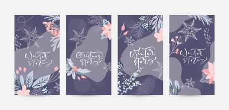 Set of Christmas design with calligraphic xmas text. Vector Social media story template with colorful floral elements. Modern flat illustration design for holidays