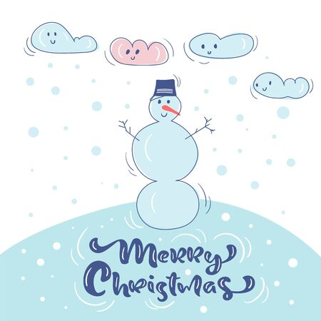 Vector Cute snowman in hat, snow and clouds. Vintage calligraphy handwritten text Merry Christmas. Banner, greeting Card, scandinavian doodle illustration Ilustrace
