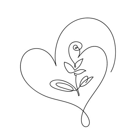 Continuous line hand drawing calligraphic vector flower with heart. Concept logo beauty. Monoline spring floral design element in minimal style. Valentine love concept Ilustrace