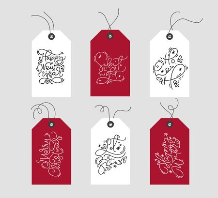Set of hand drawn doodle scandinavian Christmas element tags xmas texts. Collection holiday vector gift tags for design, web, poster, greeting card, banner Illusztráció