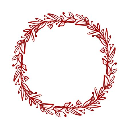 Red Christmas vector flower wreath and berries on branches with place for text. Isolated xmas illustration for greeting card