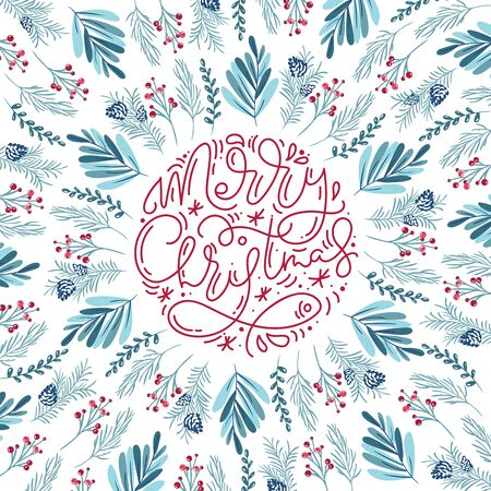 Merry Christmas monoline calligraphic lettering hand written vector text. Greeting card design with floral plants xmas elements. Modern winter season postcard, brochure, wall art design Illusztráció
