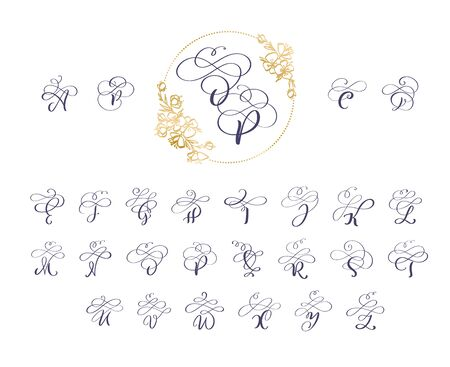 Handwritten brush style modern calligraphy cursive font with flourishes wreath. Calligraphy monogram alphabet. Cute Isolated letters. For postcard or poster decorative graphic design 일러스트