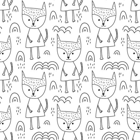 Seamless scandinavian holidays theme fox in forest and christmas clouds. Background pattern in vector. Cute animal for wallpaper, textile and kids design