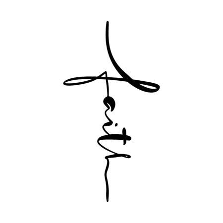 Fe, texto de letras de caligrafía de vector escrito a mano en forma de cruz. Cita del cristianismo para el diseño. Cartel de tipografía, tarjeta de felicitación.