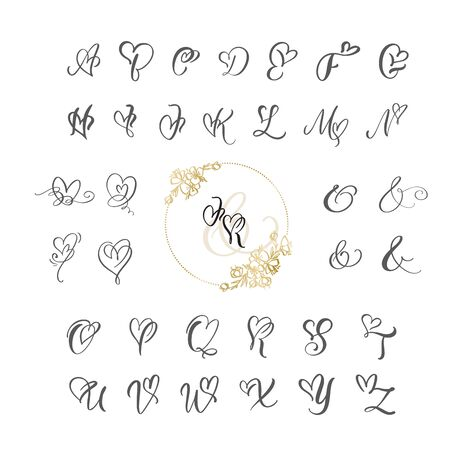 Alphabet monogramme de calligraphie coeur manuscrite. Police cursive de la Saint-Valentin avec police de coeur s'épanouit. Lettres isolées mignonnes. Pour la conception graphique décorative de carte postale ou d'affiche