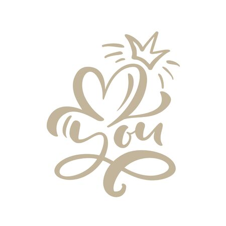 love you calligraphic text with heart and crown. Valentines day greeting card with flourish calligraphy. Hand drawn design elements. Handwritten brush romantic lettering. Vetores
