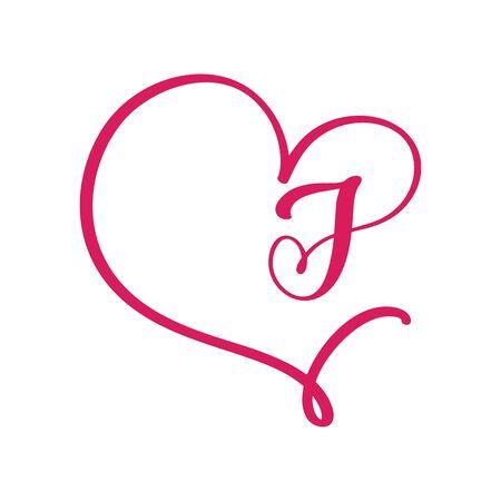 Vector Vintage floral monogram letter J. Calligraphy element  Valentine flourish frame. Hand drawn heart sign for page decoration and design illustration. Love wedding card or invitation