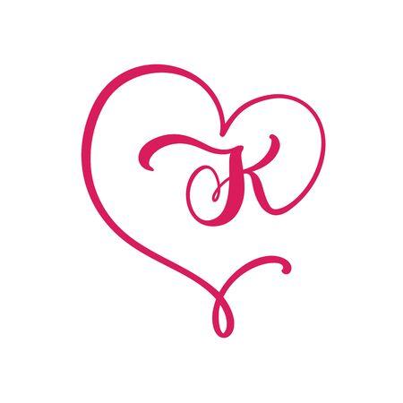 Vector Vintage floral monogram letter K. Calligraphy element  Valentine flourish frame. Hand drawn heart sign for page decoration and design illustration. Love wedding card or invitation
