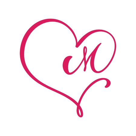 Vector Vintage floral monogram letter M. Calligraphy element  Valentine flourish frame. Hand drawn heart sign for page decoration and design illustration. Love wedding card or invitation Çizim