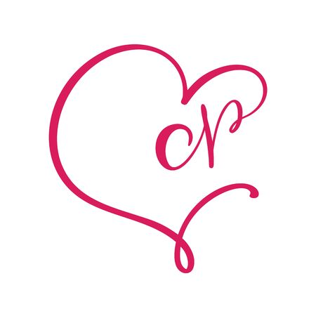 Vector Vintage floral monogram letter N. Calligraphy element  Valentine flourish frame. Hand drawn heart sign for page decoration and design illustration. Love wedding card or invitation