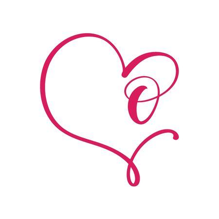 Vector Vintage floral monogram letter O. Calligraphy element  Valentine flourish frame. Hand drawn heart sign for page decoration and design illustration. Love wedding card or invitation