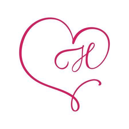 Vector Vintage floral monogram letter H. Calligraphy element  Valentine flourish frame. Hand drawn heart sign for page decoration and design illustration. Love wedding card or invitation