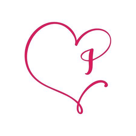 Vector Vintage floral monogram letter I. Calligraphy element  Valentine flourish frame. Hand drawn heart sign for page decoration and design illustration. Love wedding card or invitation Ilustração