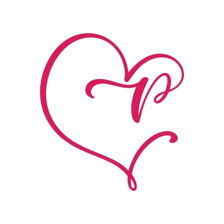 Vector Vintage floral monogram letter P. Calligraphy element Valentine flourish frame. Hand drawn heart sign for page decoration and design illustration. Love wedding card or invitation