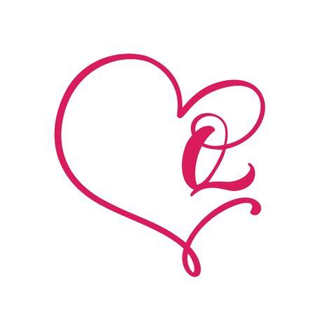 Vector Vintage floral monogram letter Q. Calligraphy element Valentine flourish frame. Hand drawn heart sign for page decoration and design illustration. Love wedding card or invitation Çizim