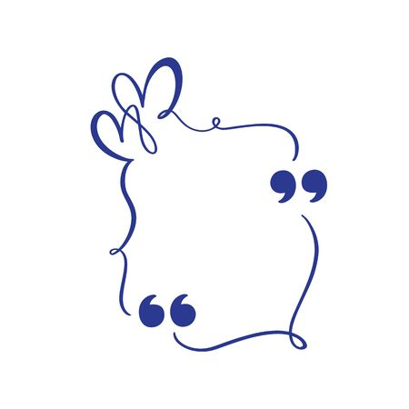 Calligraphic flourish quote box frame. vector quote box with heart for love valentine card. Blank template design quotation bubble quotes symbols. Creative banner illustration Ilustração
