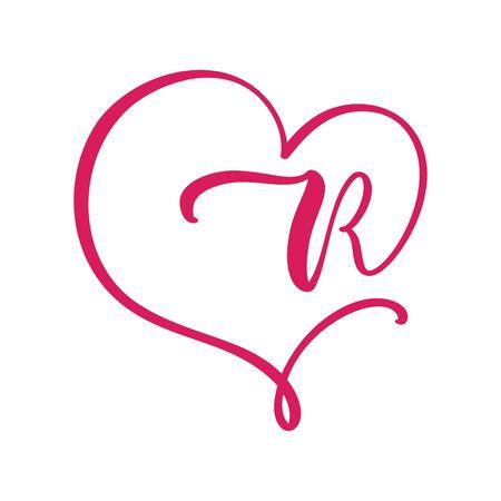 Vector Vintage floral monogram letter R. Calligraphy element Valentine flourish frame. Hand drawn heart sign for page decoration and design illustration. Love wedding card or invitation Çizim
