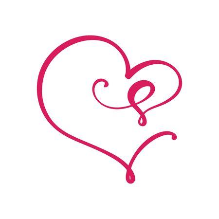 Vector Vintage floral monogram letter S. Calligraphy element Valentine flourish frame. Hand drawn heart sign for page decoration and design illustration. Love wedding card or invitation