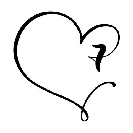 Vector Vintage floral monogram number seven 7. Calligraphy element Valentine flourish frame. Hand drawn heart sign for page decoration and design illustration. Love wedding card or invitation.